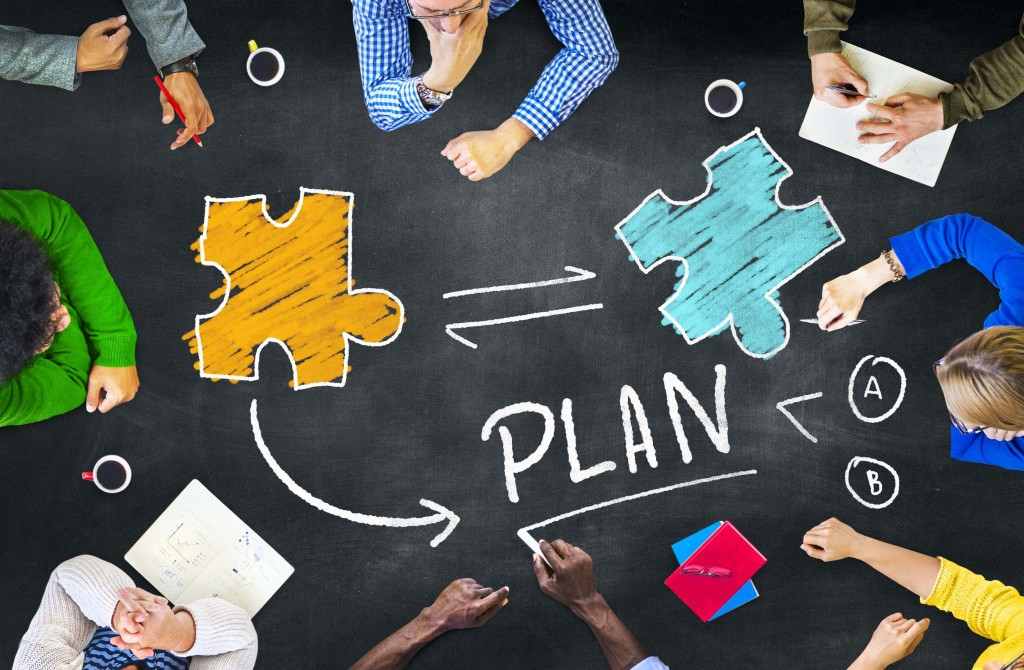 Plan Planning Connection Discussion Jigsaw Team Teamwork Concept
