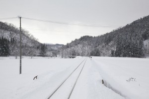 An image of Japanese local train station covered with snow in win