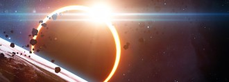 Abstract scientific background - glowing planet Earth in space, solar eclipse, nebula and stars. Elements of this image furnished by NASA